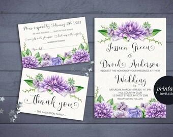 Purple Wedding Invitation Printable, Floral Wedding Invitation Suite, Boho Wedding Invitation, Bohemian Printable Wedding Invitation Set