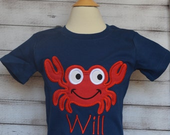 Personalized Crab Applique Shirt or Onesie Boy or Girl