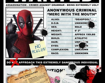 Deadpool Wanted Poster - Spoof - A3 Size