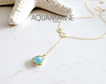 Aquamarine Lariat Infinity Lariat Necklace Aquamarine Necklace 14k gold filled Infinity lariat aquamarine lariat jewelry march birthstone