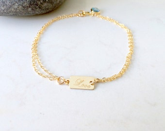 personalized 14k gold filled aquamarine bracelet stamped love tag aquamarine birthstone bracelet swarovski birthstone grad teen girls gift