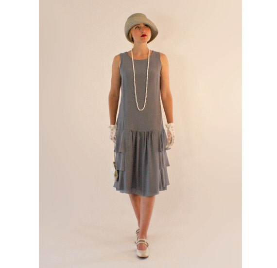 grey drop waist dress with tiered skirt great gatsby party