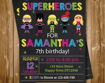 Any Age Superheroes Girls Printable 1st 2nd 3rd 4th 5th 6th 7th Birthday Invitation Colorful Superhero Chalkboard Birthday Invitation