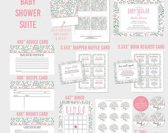 Baby shower kit | party pack | suite printable for download (A017)