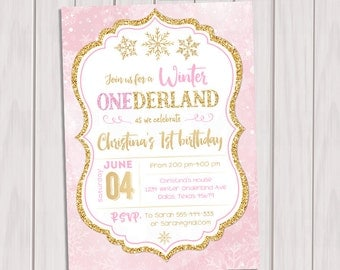 Winter ONEderland Birthday Invitation, Pink and Gold Winter ONEderland, First Birthday Party Gold Foil Winter, Snowflakes, Printable