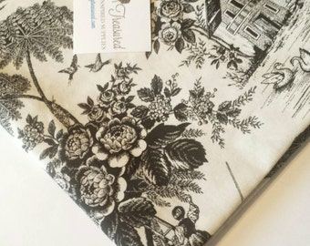 Black and White Toile Fabric, Beatiful French Country Toile by the Yard, Half Yard, Fat Quarter