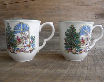 Nikko Happy Holidays Christmas Cups / Set of 2 / Holiday Christmas Mugs / Nikko Japan Happy Holidays