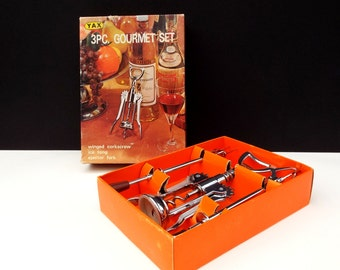 Bottle Opener Set with Ice Tongs and Fork, Yax Gourmet  barware,  Made in Japan