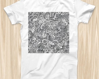 The Hippie Dippie Doodles  ink-Fuzed Graphic Fashion Soft-Fitted Tee Shirt (Men & Womens Options)