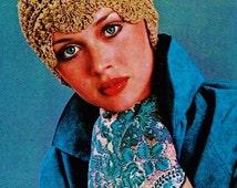 DIY Beige Lace Cloche Style Hat PDF Vintage Crochet Pattern