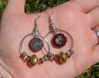 boho gypsy flower beaded earrings/Handmade bead earrings/womens/girls earrings/chech glass silver hoop earrings/wire wrapped earrings/E4