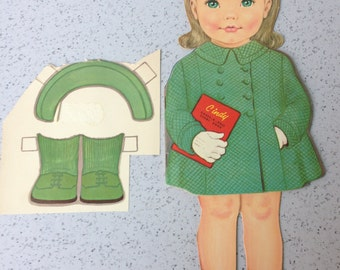 Mid Century Cindy Dress-A-Doll Story Book, Rebus Book, Picture Reader Book, Paper Doll, FREE SHIPPING