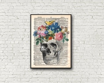 Floral Skull Dictionary Art Print Flowers Birds Pastel Goth Wall Art