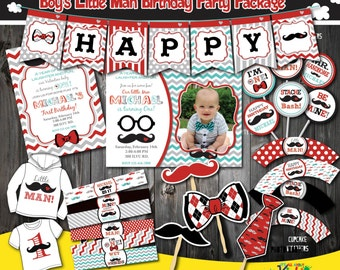 Little Man Birthday Party Package,  Valentine's day mustache Birthday Party, mustache First Birthday,1st Birthday invitation,mustache party