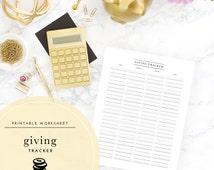 Printable Giving Tracker
