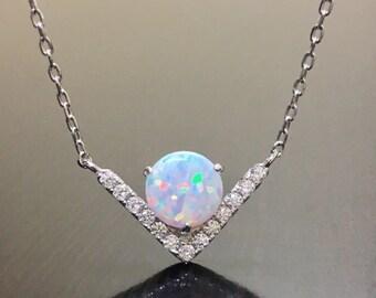14K White Gold Opal Diamond Necklace - Art Deco Diamond Opal Necklace - Diamond Art Deco Opal Drop Necklace - Opal White Gold Necklace