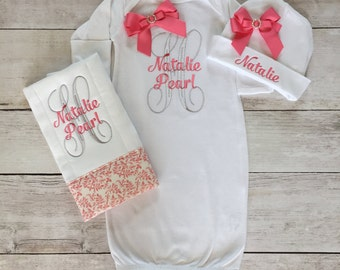 Personalized Baby Girl Newborn Gown, Cap and burp cloth set. Take Home Outfit, Create Your Own!