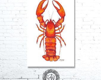 Lobster Print, Lobster Watercolor, Lobster Art, Lobster Painting, Kitchen Decor, Beach House Decor, Lobster Decor, Coastal Wall Decor