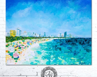 Abstract Coastal Art, Seascape Art, South Beach Print, Coastal Wall Art, Ocean Painting, Blue Sky Painting, Blue Water Art, South Beach Art