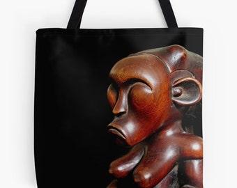 African Art Tote Bag - Featuring Exclusive Fang Byeri Guardian Figure Design