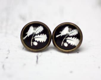 Earrings, Stud earrings, Post earrings, black and white