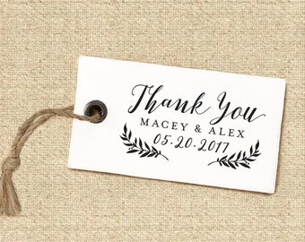Thank You Stamp #13 - Wooden or Self-Inking - Calligraphy - Wedding Favors - Personalized — INCLUDES HANDLE