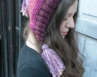Rose capucine - knit hat from handspun yarn