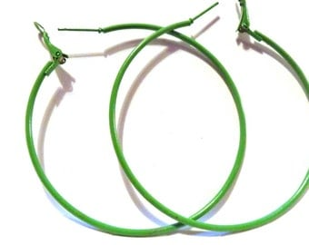 2.25 inch Hoop Earrings Green Hoop Earrings Classic Thin Hoop Earrings