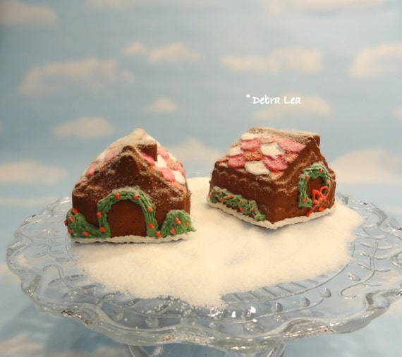 Fake Gingerbread House Mini Cake Handmade Faux Holiday Candyland Kitchen Decor Centerpiece