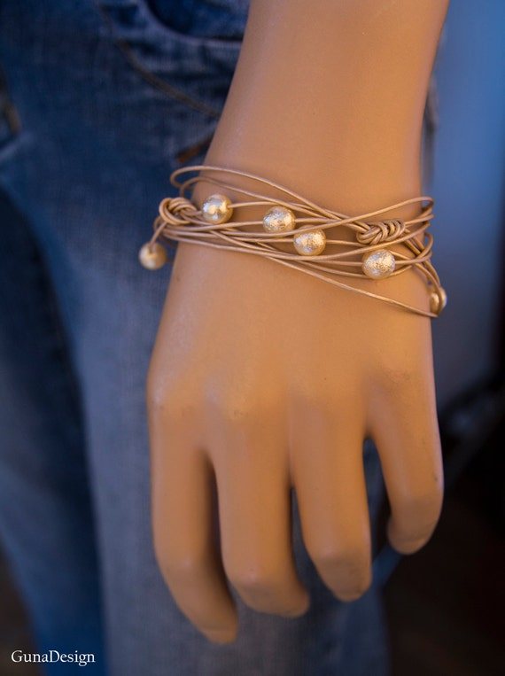 Leather Cord Bracelet with Beads, Bridesmaids Bracelet