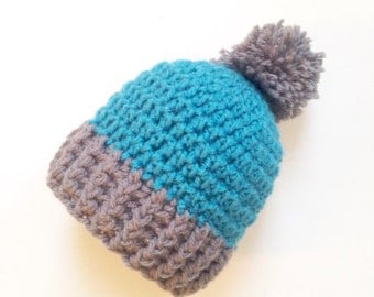 Crochet Baby Hat, 3-6 Months, Ribbed beanie hat, Teal and Gray, Crochet beanie, baby gift, crochet hat