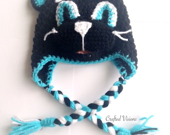 PATTERN** Crochet Panther hat, All Sizes, Newborn to Adult, Panthers Hat, Crochet Hat Pattern, Carolina Panthers