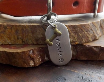 Dog Tags For Dogs, Dog ID Tag, Dog Tag, Hand Stamped Dog Tags, Small to Medium Aluminium Dog ID Tag, Pet Tags, Pet ID Tags, Dog id