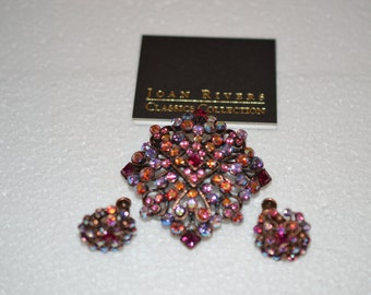 Joan Rivers Multi Color Rhinestone Brooch and Earrings Set Romance Card Pouch and Box  ships in 24 Hrs