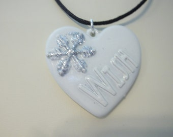 White Snowflake Clay Heart Pendant - N238