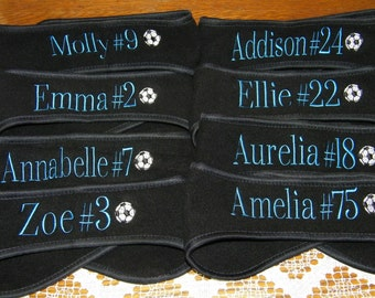 Personalized Team SOCCER Fleece Earwarmer Fall/Winter Headbands - Adjustable, One Size Fits all - 11 Fun Colors