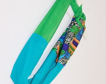 Green Blue Scarf, Lightweight Scarf, Abstract Scarf, Blue Infinity Scarf, Green Loop Scarf, Geometric Scarf, Spring Scarves