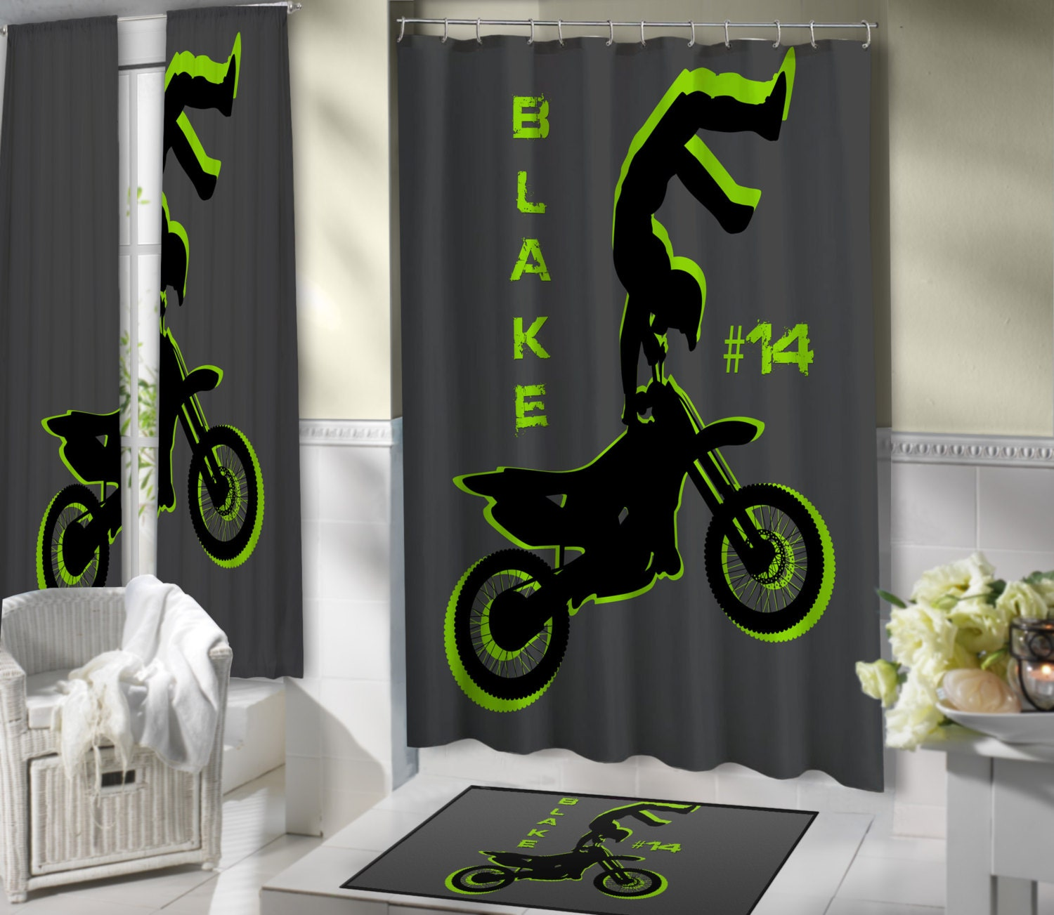 Dirt Bike Fabric Shower Curtain Motocross by EloquentInnovations
