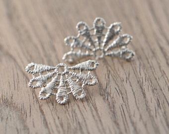 Bloom lace sterling silver stud earrings
