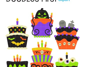 Halloween Cakes Clip Art for Scrapbooking Card Making Cupcake Toppers Paper Crafts