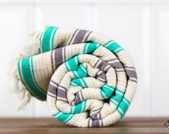 Dune Turkish Towel, Seafoam, Dark Gray, Bath Towel, Peshtemal, Cotton Bath Towel, Cotton Beach Towel