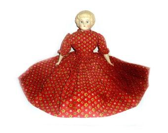 Vintage Highland Mary China Head Parian Doll in Original Cloth