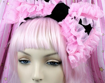 Black and pink bow-Oversized bow-Gothic Lolita-Creepy Cute-Bittersweet-Sweet Lolita-Hair bow-Pink-Angelic Pretty-Candy F