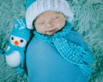 Handmade Snowman Set, Stuffed Snowman and Hat, Crochet Plush Snow Man, Amigurumi Winter Baby Gift, Christmas Photo Prop