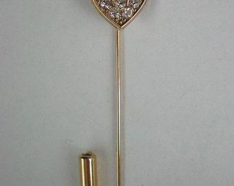 Pave Rhinestone Heart Stick / Lapel Pin - 4603