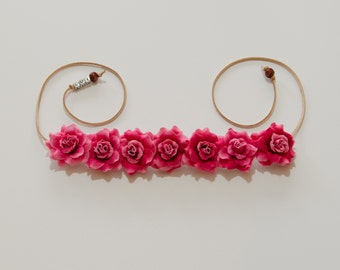 Dark Pink Rose Flower Crown, Flower Headband, Festival Headband, Hippie Headband, Bohemian Headband, BoHo Headband, Rave Headband