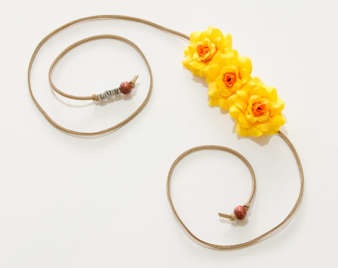 Yellow Rose Side Flower Crown