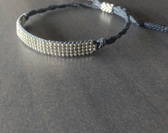Bead Loom Bracelet , Friendship Bracelet -Silver, Gray(35)