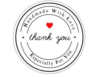 30 Handmade With Love Especially For You Thank You Stickers Round Glossy Labels Packaging Stickers AC5