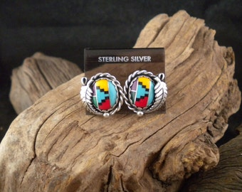 Beautiful Inlay stone Sterling Silver Earrings Handmade Signed Pieces